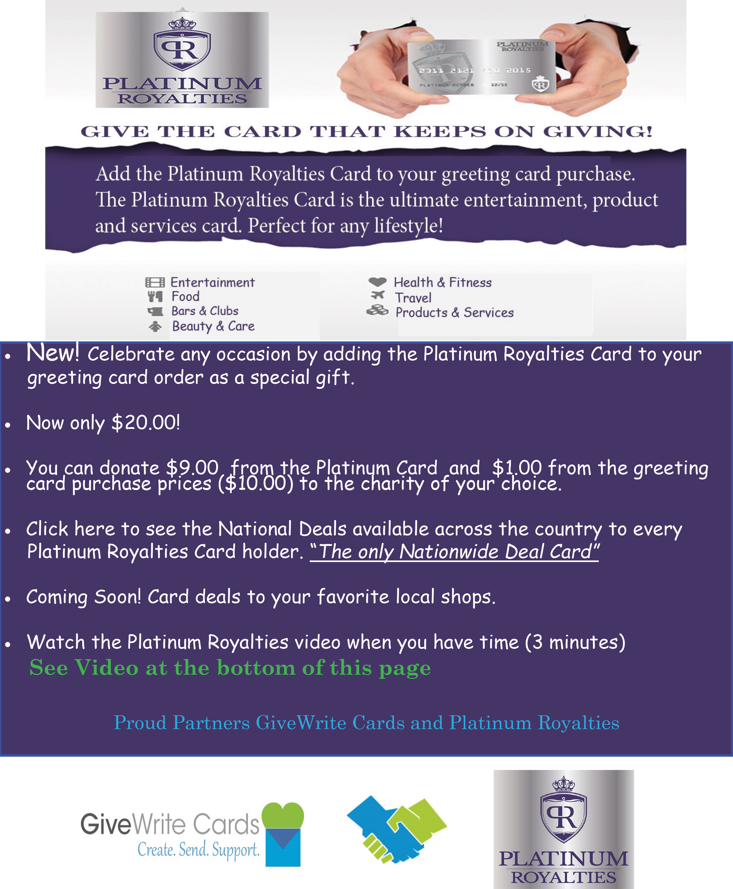 Gift A Platinum Royalties Card W Your Greeting Card
